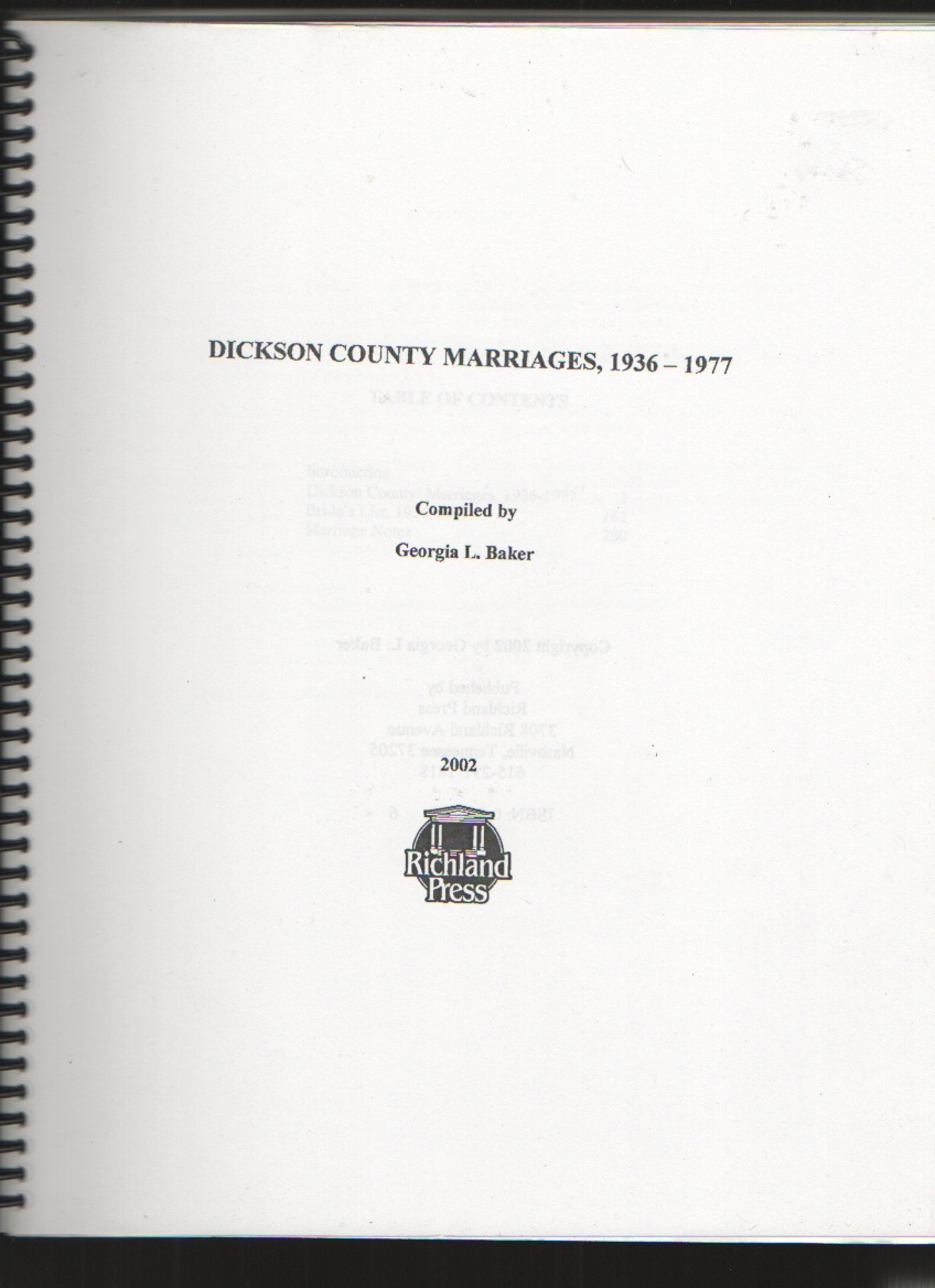 Image for 1936 - 1977 Dickson County, Tennessee Marriages