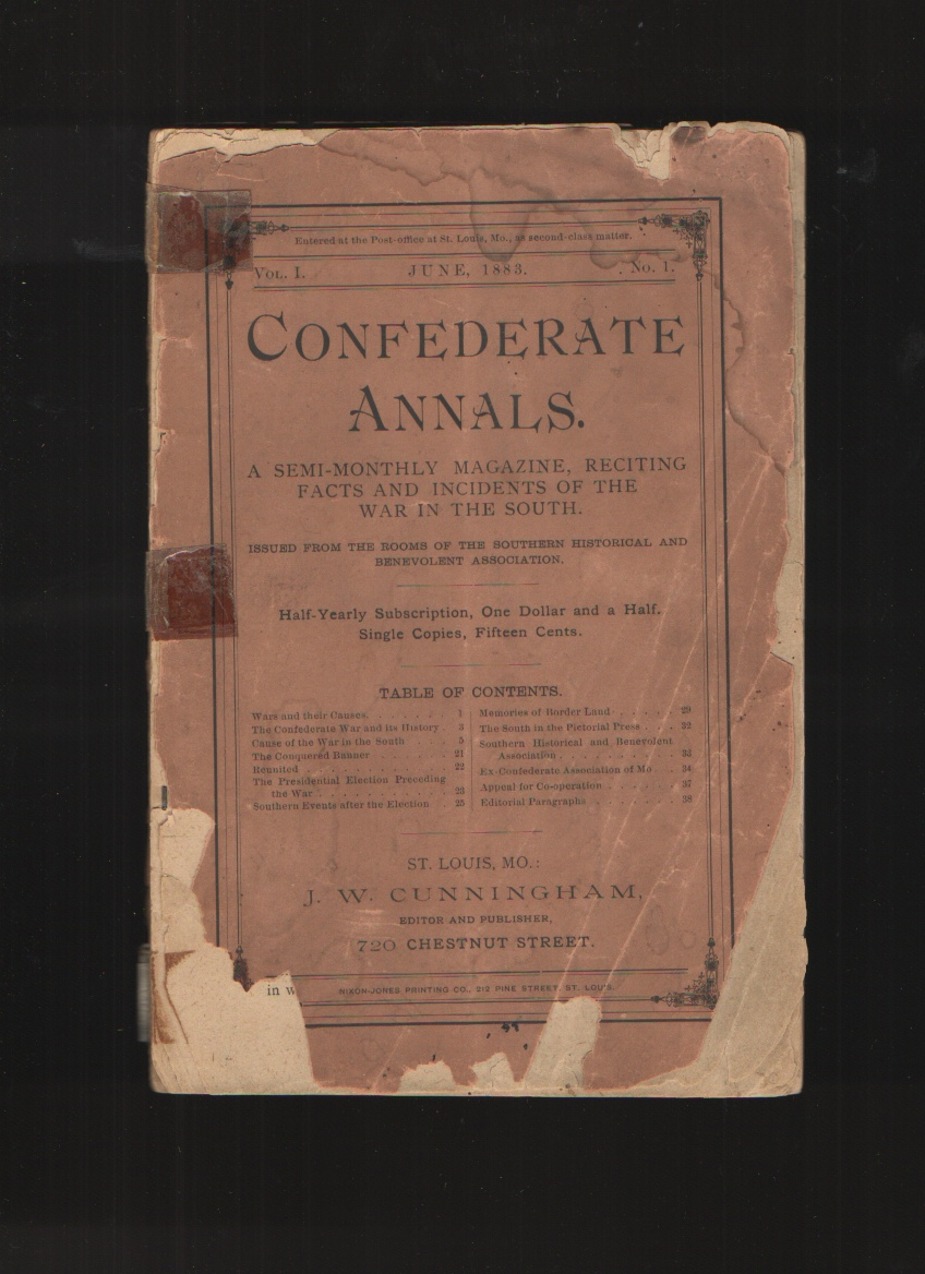 Image for Confederate Annals, Vol. I, June 1883, No. I