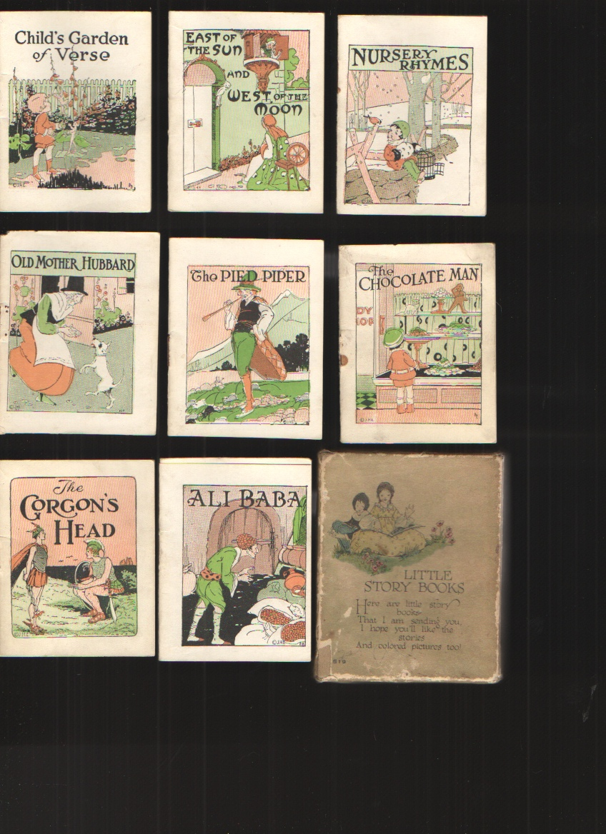 Image for Little Story Books - 8 Minature Books Boxed Contains 8 Volumes: Child's Garden of Verses, East of the Sun and West of the Moon, Nursery Rhymes, Old Mother Hubbard, the Pied Piper, the Chocolate Man, the Gorgon's Head and Ali Baba