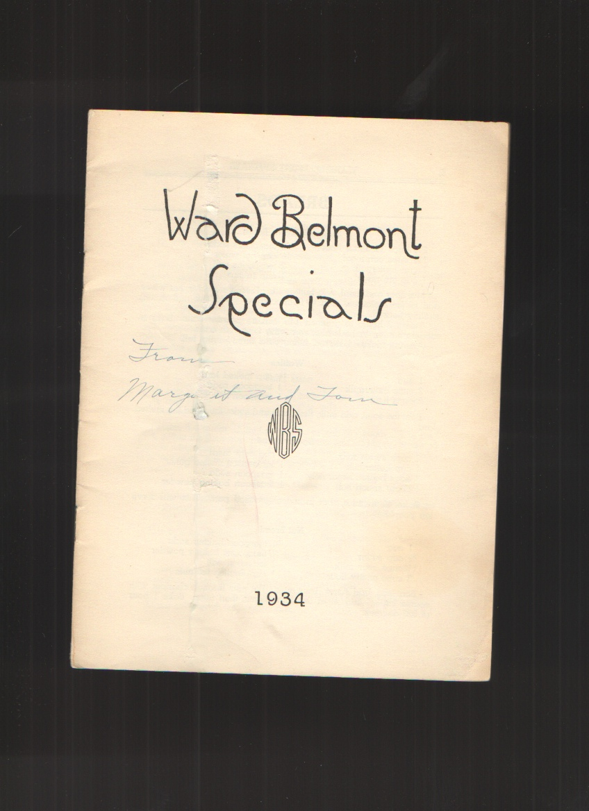 Image for Ward Belmont Specials (Cook Book)